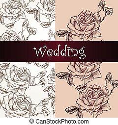 ばら, 結婚式, カード, 招待