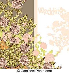 ばら, 結婚式, 引かれる, カードの手