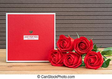ばら, gift-box, 赤