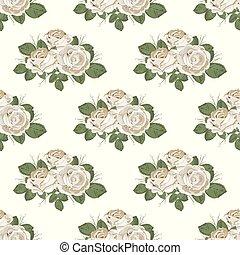 ばら, pattern., seamless, イラスト, バックグラウンド。, ベクトル, レトロ, 花, 白