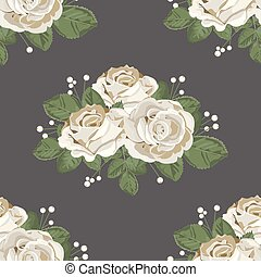 ばら, pattern., seamless, イラスト, 暗い, バックグラウンド。, ベクトル, レトロ, 花, 白