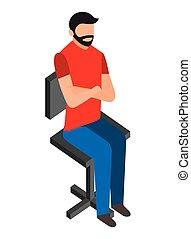ひげ, 椅子, 人間が座る