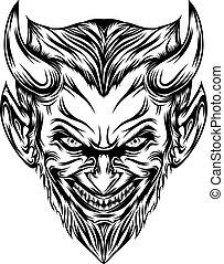 ひげ, 長い間, 頭, 微笑, 恐怖, 悪魔