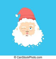 ひげ, claus., emoji., isolated., まばたき, 頭, とても, santa, 祖父, クリスマス, 口ひげ, avatars