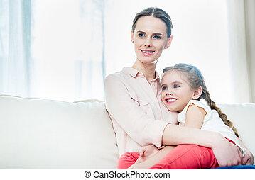 ひざ, 娘, 母, モデル, 家肖像画, 微笑