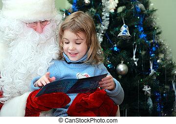 ひざ, 顔つき, 女の子, claus, わずかしか, 美しい, モデル, 葉書, クリスマス, santa, 木