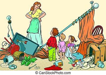 ひどい状態のもの, 家, ひどい, 子供, 母, 作られた