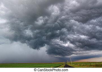 ひどい, 雷雨, 中に, イリノイ
