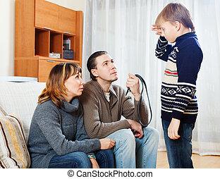 ひどく叱ること, 母, 父, ティーネージャー, 息子