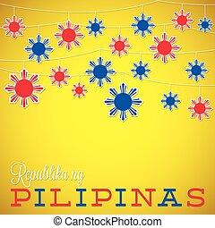 ひも, philippine, 独立記念日, カード, 中に, ベクトル, format.