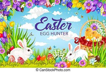 ひよこ, うさぎ, バスケット, イースター, 探求, 卵