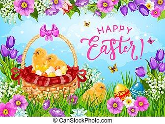 ひよこ, 卵, バスケット, イースター, 花