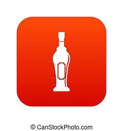 びん, アイコン, アルコール, 赤, デジタル