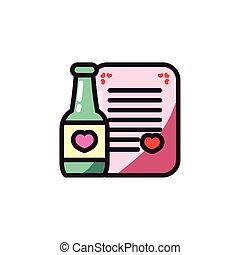 びん, カード, 心, ベクトル, デザイン, 愛