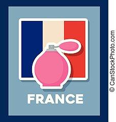びん, フランス, 文化, 旗, 芳香, カード