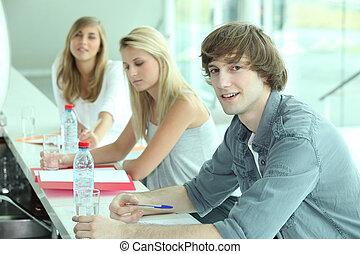 びん, 人々, coursework, 若い, 水, バー