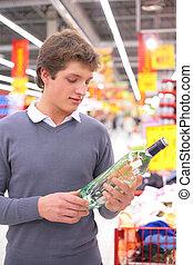 びん, 人, アルコール, スーパーマーケット, 若い