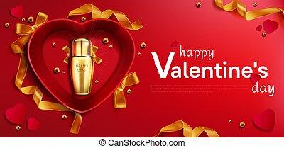 びん, 化粧品, 心, 日, 箱, バレンタイン