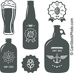びん, 型, 印, ビール, 技能, ラベル, 醸造所