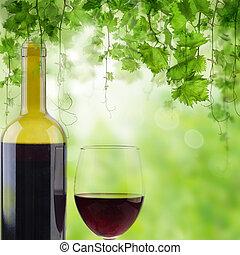 びん, 日当たりが良い, ガラス, 緑の背景, 赤ワイン