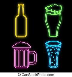 びん, 明るい, サイン, レストラン, カフェ, ビール, 黒, セット, 多彩, 光沢がある, イラスト, 明るい, バー, バックグラウンド。, 美しい, ネオン, ベクトル, 大袈裟な表情をする