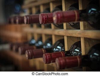 びん, 木製である, 積み重ねられた, ラック, 赤ワイン