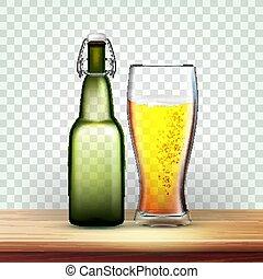 びん, 現実的, ガラス, ビール, ベクトル, 泡だらけ