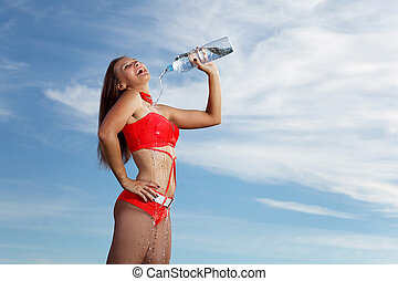 びん, 若い, 水, 女性, 女の子, スポーツ