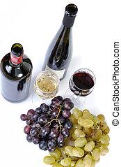 びん, 2, 隔離された, ブドウ, 白, ガラス, ワイン