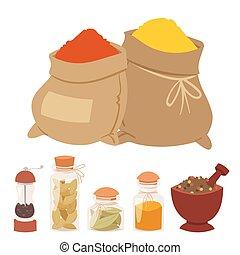 ぴりっとする, 自然, 香辛料, 調味料, ハーブ, ベクトル, 食物, 野菜, 有機体である, ingredient., スパイス, 健康