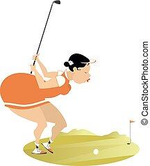 ふくよか, 若い, ゴルファー, 隔離された, illustration., 女, ゴルフコース