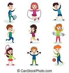 ふざけている, わずかしか, 子供, 別, スポーツ, ベクトル, 特徴, 活動, イラスト, ゲーム, 微笑, 遊び, 漫画, 健康診断