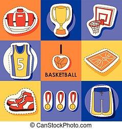 ふざけている, バスケットボールコート, カップ, メダル, ステッカー, イラスト, セット, ベクトル, スポーツウェア, 背景, たが, 網, スポーツ, 旗, ジム, 背景, 衣服