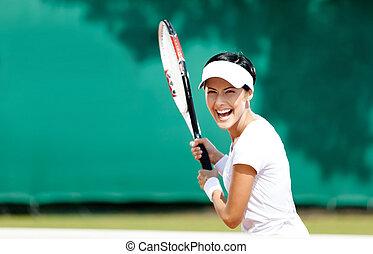 ふざけている, 女, テニス, プレーする