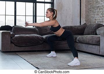 ふざけている, squat, 運動選手, レギング, スポーツ, 黒, ブラジャー, 女性, 家, コーカサス人,...