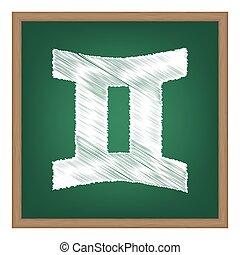ふたご座, 印。, 白, チョーク, 効果, 上に, 緑, 学校, board.