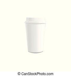 ふた, コーヒー, illustration., mockup, カップ, プラスチック, ペーパー, 現実的, ベクトル, 白, ∥あるいは∥