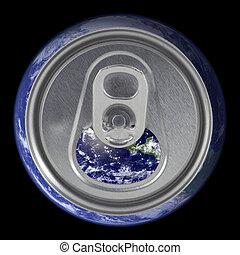 ふた, 地球, 開いた, 缶, ソーダ