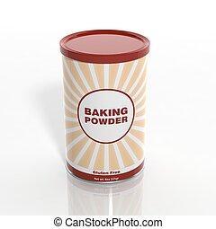 べーキング, 缶, 隔離された, 粉, 3d, 白