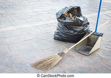 ほうき, -, ちり取り, 袋, 通り, 清掃, ごみ