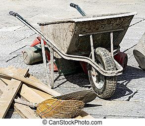 ほうき, 仕事, バケツ, 舗装, 一輪手押し車