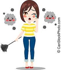 ほこり, 苦しみ, 女, アレルギー