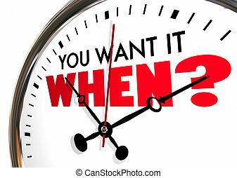 ほしい, 時計, 質問, いつか, それ, イラスト, 期限, カチカチ音をたてること, 手, あなた, 3d