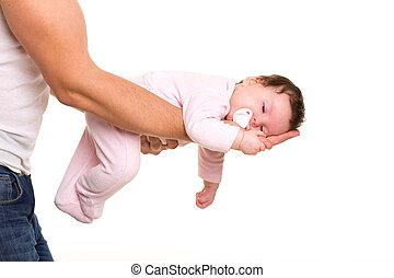 ほとんど, 睡眠, 女の赤ん坊, 中に, 父, 腕, 白