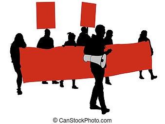 ほんの少し, 旗, 赤, 人々