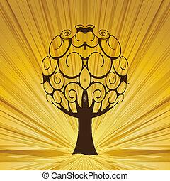 ほんの少し, 木, 抽象的, rays.