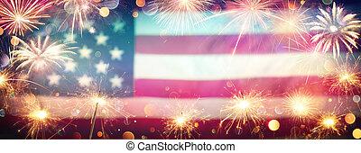 ぼやけた背景, 型, 祝福, アメリカ人, sparklers-fireworks, usaフラグ