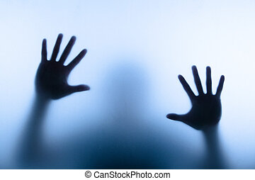ぼやけ, 手, の, 人, 感動的である, ガラス