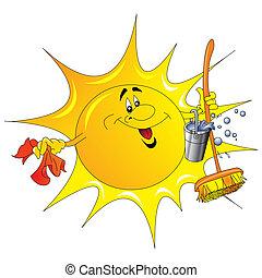ぼろきれ, 洗う, バケツ, 太陽