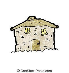 ぼろぼろに崩れる, 家, 古い, 漫画